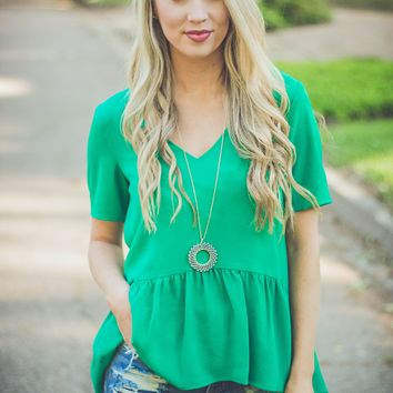 Mary Claire Peplum- Kelly Green