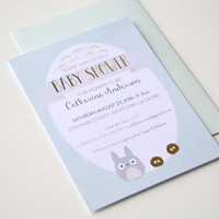 Totoro Baby Shower Invitation Dustbunnies gold foil - Custom cards with envelopes