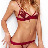 Skivvies For Love & Lemons Le Fleur Thong in Blood Red