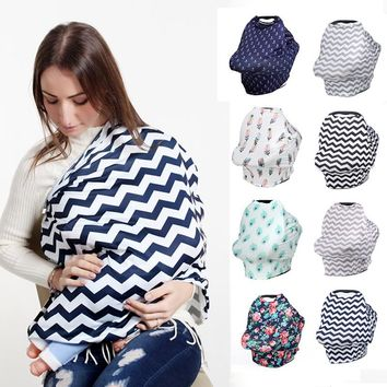 Baby Trolley Cover Breastfeeding Scarf for Newborns Cotton Baby Car Seat Cover Canopy Floral Nursing Cover Baby Feeding Cover