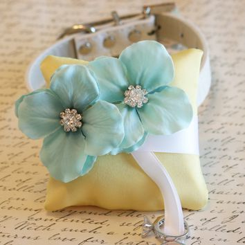 Aqua and yellow Ring Pillow, Dog Ring Bearer,Aqua wedding, beach wedding