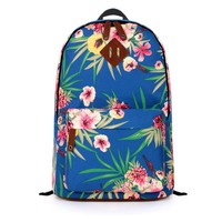 ZLYC Royal Blue Floral Canvas Backpack