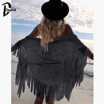DayLook Fashion Design Faux Suede Shawl White Hollow Out Floral Cut Out Asymmetric Tassel Kimono Swimming Capes Summer Style