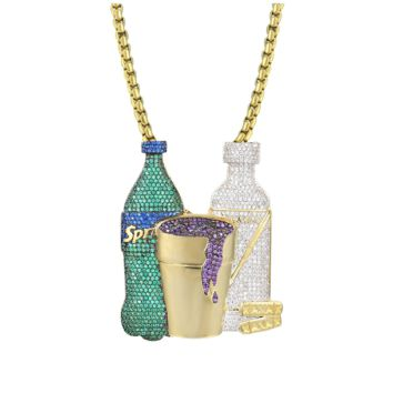Syrup Cup Sprite Bottle Custom Gold Tone Xanax Pendant Necklace