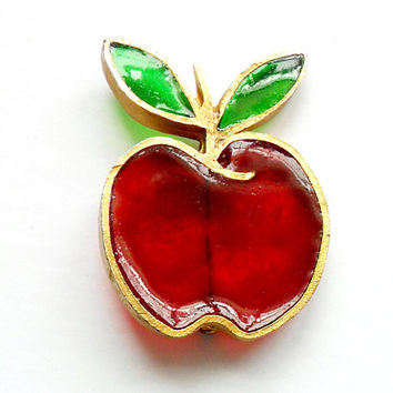 Vintage Resin Apple Brooch - Plique A Jour - Signed Joy - Stained Glass - Forbidden Fruit - Teacher Gift - Broach Pin