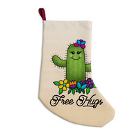 "Noonday Design ""Free Hugs Cactus"" Green Pastel Christmas Stocking"