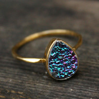 Titanium Blue Druzy Ring Teardrop Vermeil Gold by OhKuol on Etsy