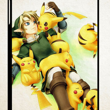 zelda with pikachu pokemon Z1061 iPad 2 3 4, iPad Mini 1 2 3, iPad Air 1 2 , Galaxy Tab 1 2 3, Galaxy Note 8.0 Cases