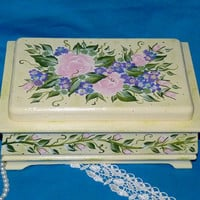 Hand Painted Jewelry Box Wood Jewelry Chest Organizer Holder Roses Custom JB