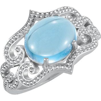 Sterling Silver Swiss Blue Topaz Cabochon Granulated Design Ring