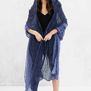 Crinkle Hooded Duster Poncho- Blue Multi One