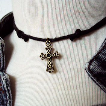 Limited Edition Cross Choker ~ Gothic Cross Necklace ~ Black Choker ~ Goth Cross Necklace  ~ Rock Choker ~ Rock Music Jewelry ~ Cross Charm