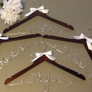 15% off Sale Set of 4 Personalized Wood Custom Made Wedding Party Hangers, Bride-Groom, Mothers, Maid of Honor, Bridesmaids, Flower Girl