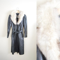 I Likely Leather - Vintage 80s Black Womens Leather White Fox Fur Coat Jacket Fall