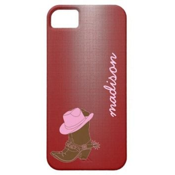 Cute Cowgirl phone; boot w/ hat on Red, add name