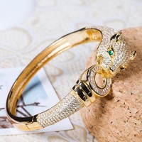 8DESS Cartier Women Fashion Leopard Head Plated Bracelet