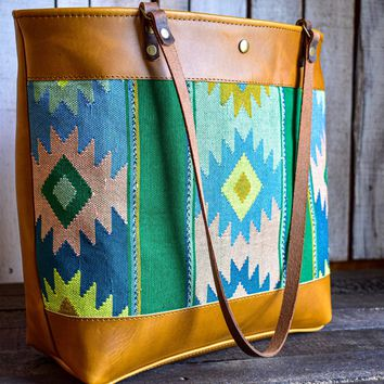 Trama Woven and Sunflower Leather Market Tote