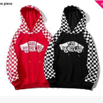 VANS x OFF THE WALL hot seller of casual plaid color hoodies that have become fashionable hoodies