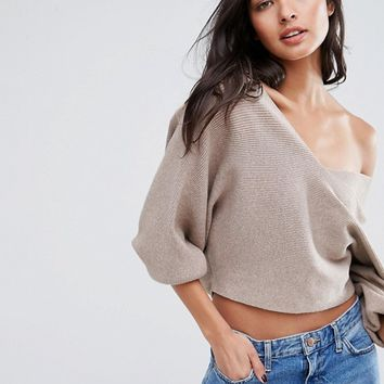Missguided V Neck Batwing Sweater at asos.com
