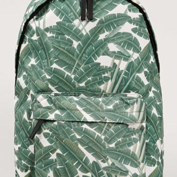 Green Palm Leaf Print Backpack