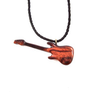 Guitar Necklace, Mens Necklace, Guitar Pendant, Guitar Jewelry, Wood Guitar Pendant, Wood Guitar Necklace, Mens Wood Pendant, Mens Jewelry