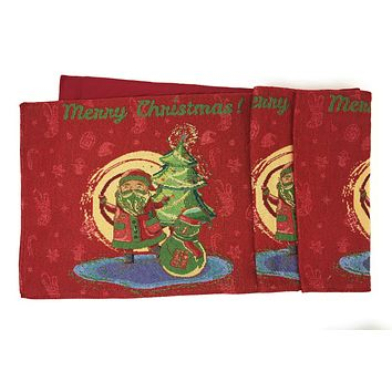 DaDa Bedding Santa Clause Table Runner, Colorful Holiday Red Tapestry (17615)