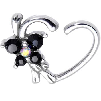 Black Gem Butterfly Wings Right Daith Cartilage Tragus Earring