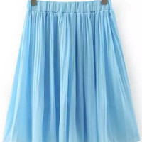 Blue Elastic Waist Pleated Chiffon Skirt