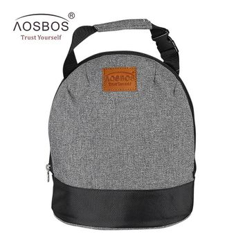 Aosbos Oxford Insulated Lunch Bags for Women Kids Portable Grey Thermal Lunch Bag Box Men Food Picnic Bento Cooler Bag Tote