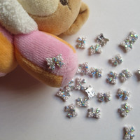 MD-287 5pcs Fancy Metal Charms Pearl and AB Rhinestone Silver Bow Charms Nail Art Decoration Cellphone Decoration