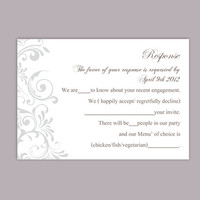 DIY Wedding RSVP Template Editable Word File Instant Download Rsvp Template Printable RSVP Cards Gray Silver Rsvp Card Elegant Rsvp Card