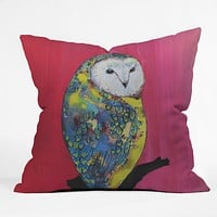 Clara Nilles Owl On Lipstick Throw Pillow