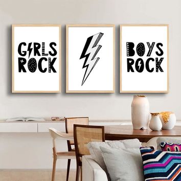 Girls Boys Rock Flash Shape Wall Art Prints&Poster For Kids Bedroom Modern Wall Picture Modular Canvas Painting For Home Decor