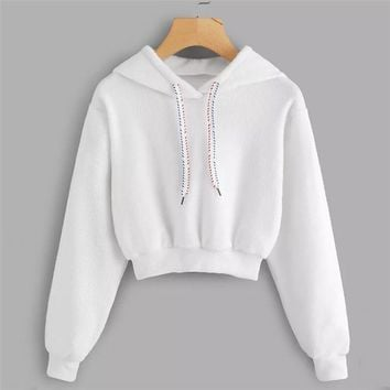 White Faux Fur Drawstring Crop Hoodie Female Casual Plain Autumn New Style Pullovers Spring Hooded Long Sleeve Sweatshirt 40
