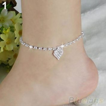 Hot Multi Pattern Love Heart Star Wedding Sandal Beach Anklet Chain Foot Jewelry Bw2c (color: Silver) = 1932748356