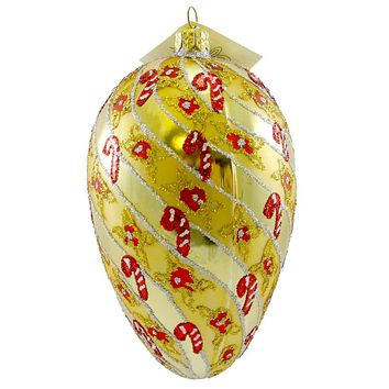 Larry Fraga RUSSIAN CANDY Blown Glass Ornament Christmas Cane Egg SAMP0003