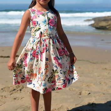 Ivory & Floral Print Poly Cotton Spring & Summer Casual Dress with Button Front (Girls 2T to Size 8)