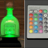 Patron Silver Tequila 16 Color Changing Remote Controlled LED Bottle Lamp  Bar Light -Bodacious Bottles-