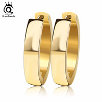 ORSA JEWELS Brand Unique Fashion Punk Rock Gold/Silver Small Circle Hoop Earrings for Women Jewelry GTE16