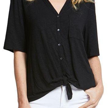 Willow and Clay Short Sleeve Tie Front Top