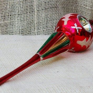 Triple Indent Vintage Glass Christmas Tree Topper