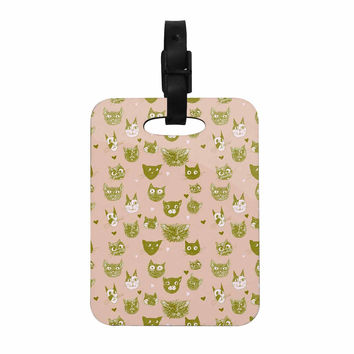 "Marianna Tankelevich ""Vintage Cats"" Pink Pattern Decorative Luggage Tag"