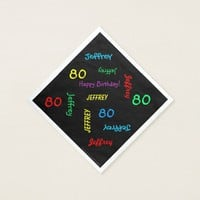 80th Birthday Party Repeating Names Black Paper Napkin