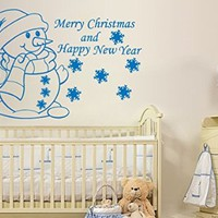 Wall Decals Merry Christmas and Happy New Year Snowflakes Snowman Decal Vinyl Sticker Bedroom Home Decor Nursery Baby Room Art Murals MS738