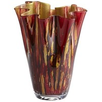 Red & Gold Glittered Ruffle Vase$39.95