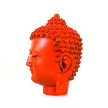 buddha head statue, fire orange, autumn, buddhas, buddha art, modern home accessories