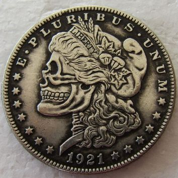 US Head-To-Head Two Face 1921/1921 Morgan Dollar skull zombie skeleton hand carved Copy Coins High quality