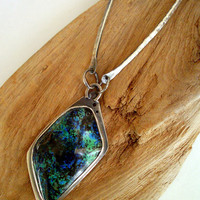 Necklace - Sterling Silver Bezel Pendant - Chrysocolla and Azurite - Hand Fabriacated Art Jewlery - RMD Designs