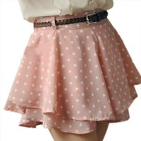 Zeagoo Women's Chiffon Cute Waist Dress Short Hot Pants Elastic Dots Polka Waist Skirt Pink