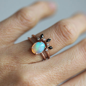Rose Gold Opal Ring, Ethiopian Opal Ring, Welo Opal Ring, Oval Opal Ring, Opal Solitaire Ring, Simple Opal Ring, October Birthstone Ring